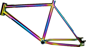 Titanium BMX bike frame with rainbow color